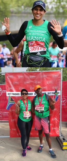 Members of our brilliant 2017 Marathon team: Bianca Theeruth (top); Pumela Salela and Sobantu Tilayi (bottom)
